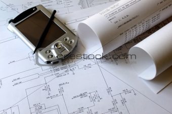 smartphone with circuit diagram