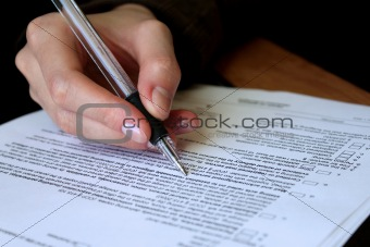 review and filling out legal contract
