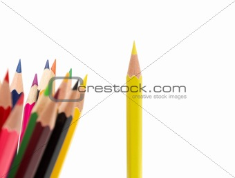 A bunch of color pencils