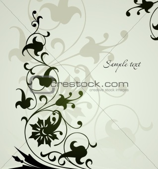 Beautiful floral  green background . Vector