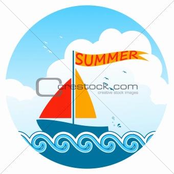floating sailboat