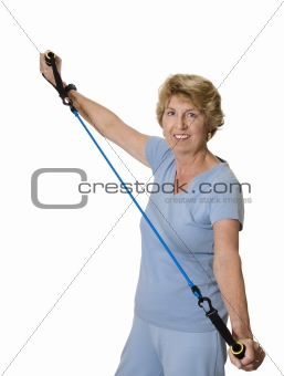 Senior woman with exercise band