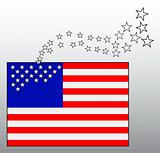 Conceptual image of American flag with departing stars