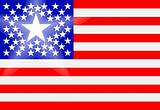 Conceptual drawing of American flag with principal state