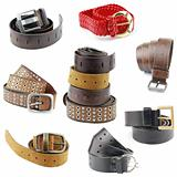Collection of leather belts on white