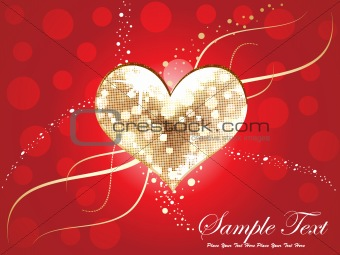 abstract golden &amp; disco heart background