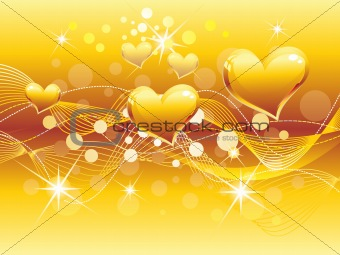 abstract golden heart background