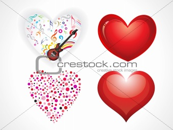 abstract glossy hearts set