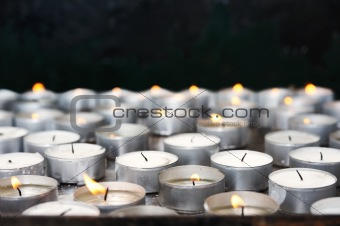 Prayer candles in church - close up