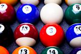 Close-up billiard balls