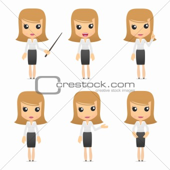 set of funny cartoon business women
