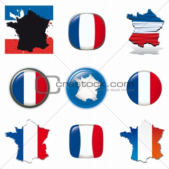 French symbols and icons. Vector collection.