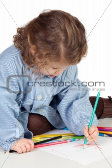 Beautiful girl with preschool uniform painting