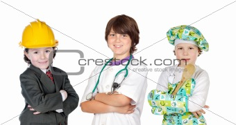 Three children with clothes of differents profession