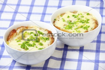 Two bowls of onion soup