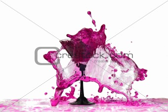 Vine splashes in glass isolated on white
