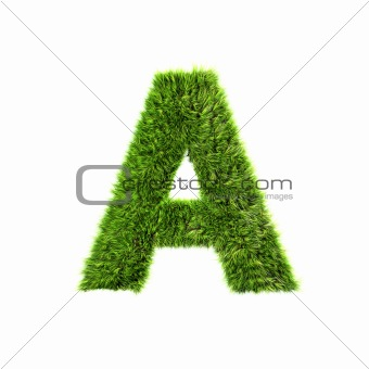 3d grass letter isolated on white background - A