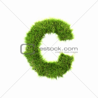 3d grass letter isolated on white background - C