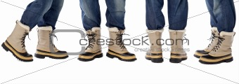 blue jeans and snow boots