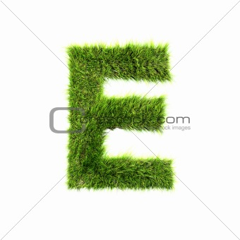 3d grass letter isolated on white background - E