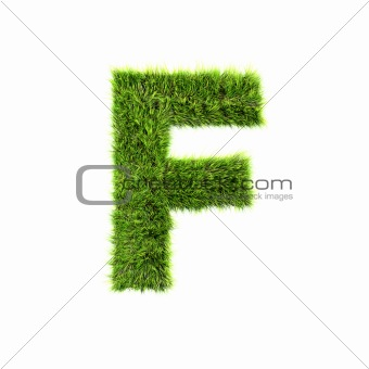 3d grass letter isolated on white background - F