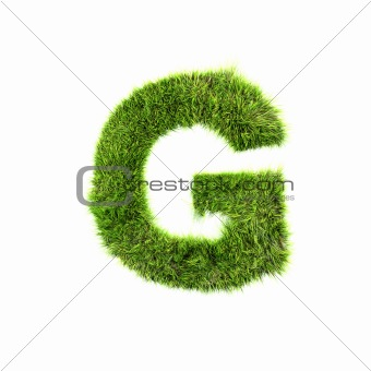 3d grass letter isolated on white background - G