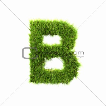 3d grass letter isolated on white background - B