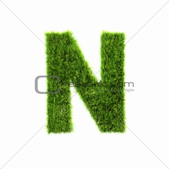 3d grass letter isolated on white background - N