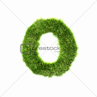3d grass letter isolated on white background - O
