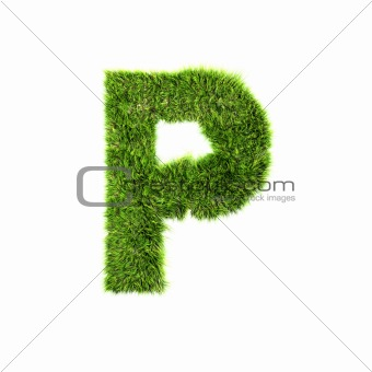 3d grass letter isolated on white background - P