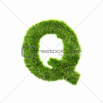 3d grass letter isolated on white background - Q