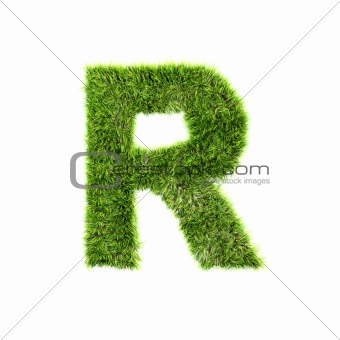 3d grass letter isolated on white background - R