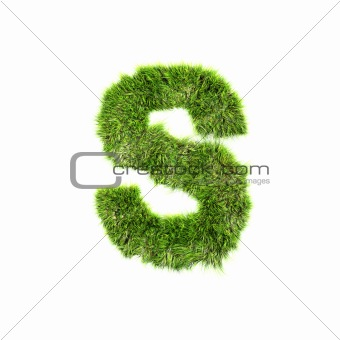 3d grass letter isolated on white background - S