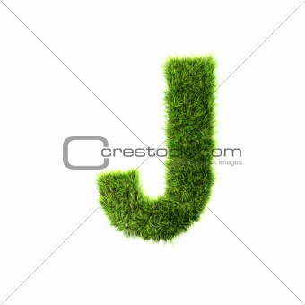 3d grass letter isolated on white background - J