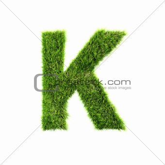 3d grass letter isolated on white background - K