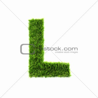 3d grass letter isolated on white background - L