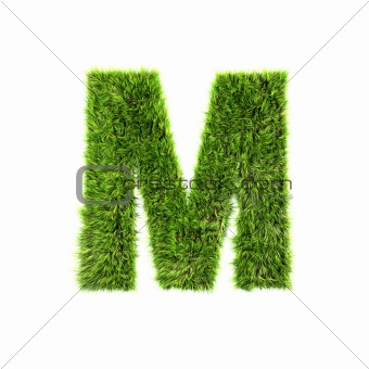 3d grass letter isolated on white background - M