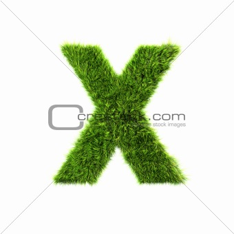 3d grass letter isolated on white background - X