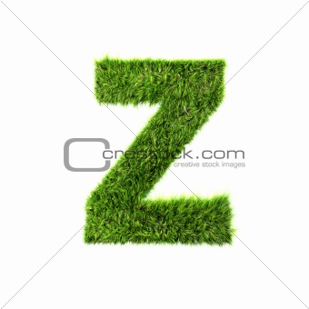 3d grass letter isolated on white background - Z