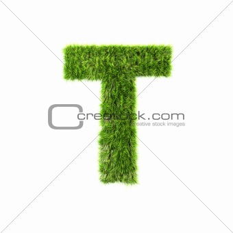 3d grass letter isolated on white background - T