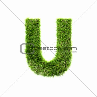 3d grass letter isolated on white background - U