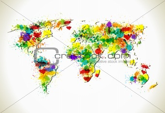 Paint splashes world map vector background