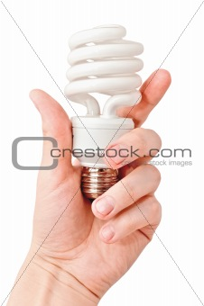 Arm holding florescent light bulb. Isolated on white background
