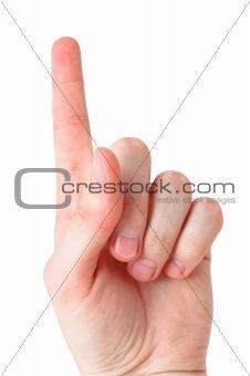 "Arm making ""index"" sign, isolated on white background"