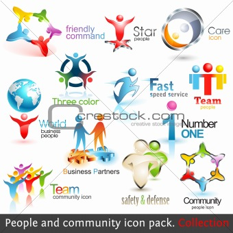Business people community 3d icons. Vector design elements