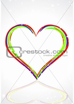 abstract colorful heart with line art