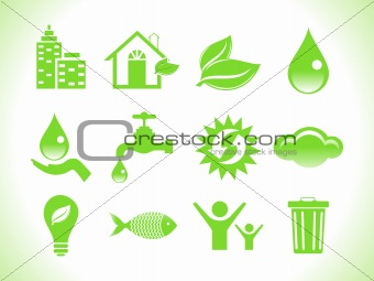 abstract green eco icons