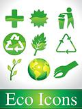 abstract green glossy eco icons