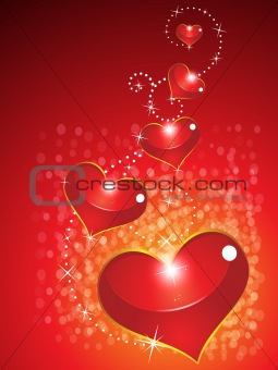 abstract glossy valentine hearts with sparkle