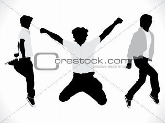 abstract motion silhouette of a boy